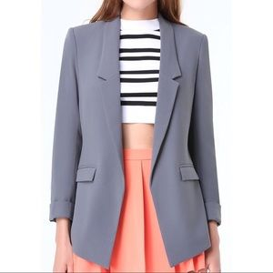 Bebe Gray Crepe Open Boyfriend Blazer Jacket 2